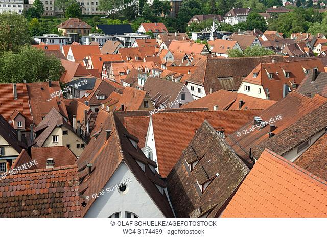 05. 06. 2017, Tuebingen, Baden-Wuerttemberg, Germany, Europe - An elevated city view of the roofscape of Tuebingen's old town