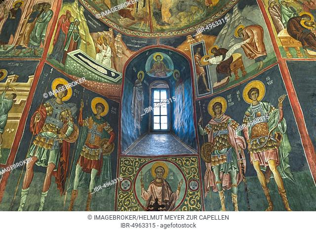 Wall frescoes in the Church of the Exaltation of the Cross, Vltava Monastery Patrauti from the 15th century, Patrauti, Romania, Europe