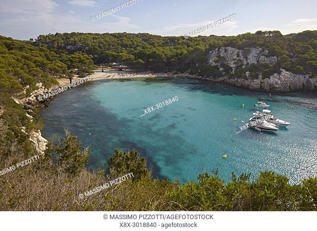 Elevated view of Cala Macarella in Menorca,Balearic Islands, Spain