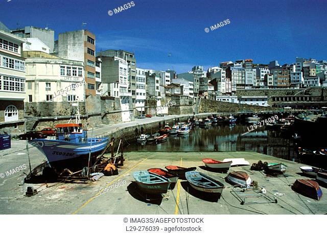 Malpica harbour. La Coruña province. Galicia. Spain