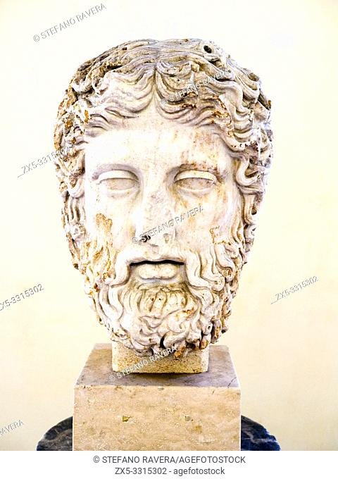 Head of Zeus, Roman copy of an original by the school of Phidias - First half of the 2nd century AD - National Roman Museum - The Baths of Diocletian - Rome
