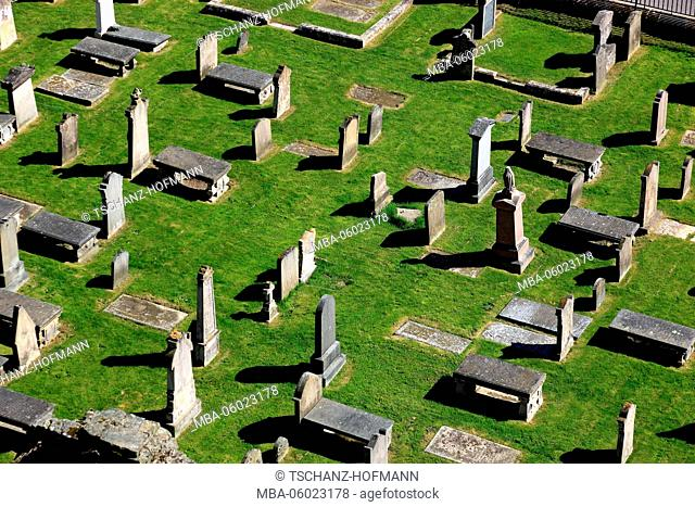 Scotland, Highland, Elgin, view from a tower of the ruins of the cathedral to the cemetery