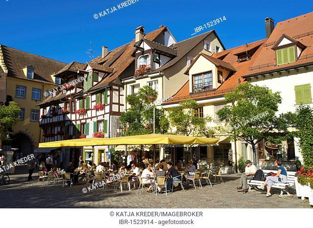Sidewalk cafe in Meersburg, Lake Constance, Baden-Wuerttemberg, Germany, Europe