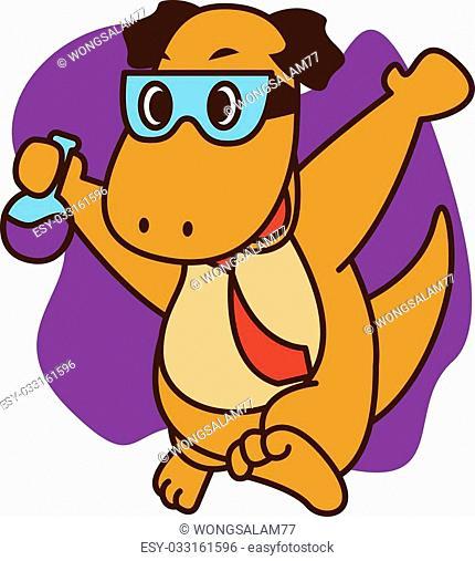 Dinosaur genius vector art illustration