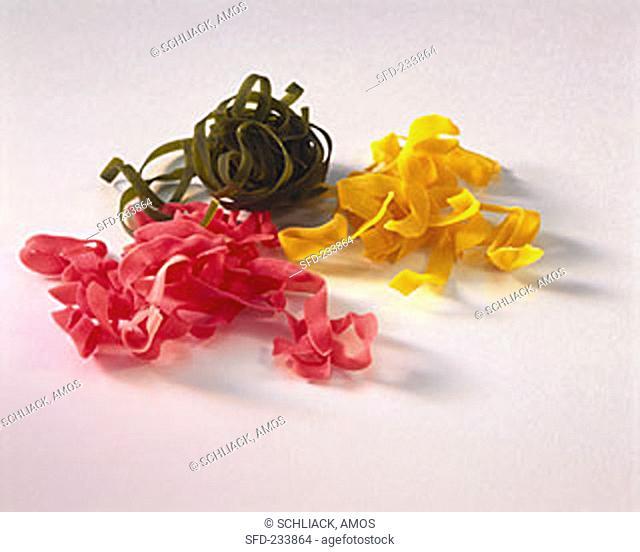Colourful ribbon noodles