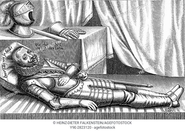 Caricature on Johann t'Serclaes Count of Tilly, after The Battle of Breitenfeld, 1631, Thirty Years War