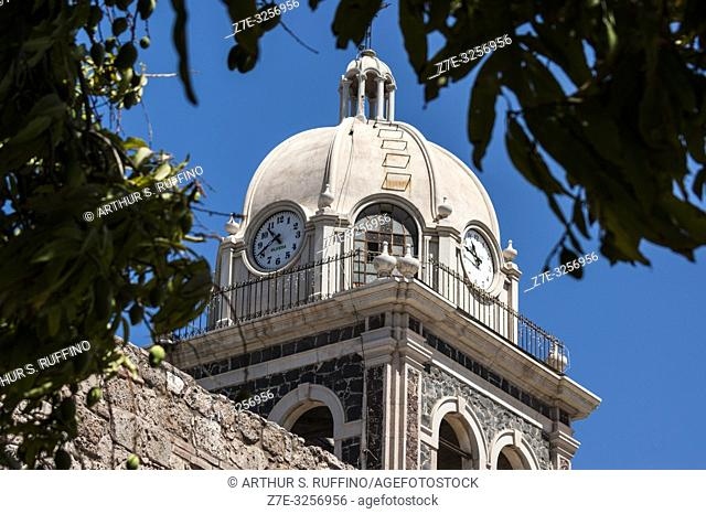 Detail of the bell tower of the Mission of Nuestra Señora de Loreto Conchó (Mission of Our Lady of Loreto). UNESCO World Heritage Site
