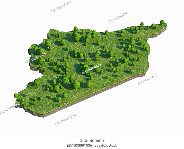 3d render of syria map section cut isolated on white with clipping path