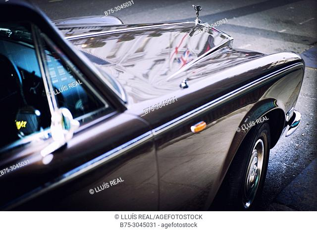 Close up of a parked Rolls-Royce car. London, England
