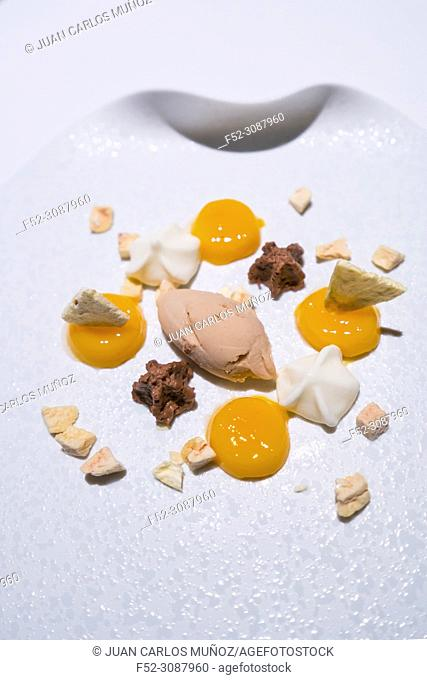 Ice cream, Praliné, Les Moles Restaurant, one-star Michelin, Ulldecona Village, La Senia Territory, Terres de l'Ebre, Tarragona, Catalunya, Spain