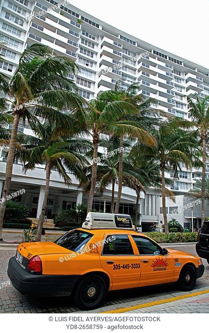 Taxi in Miami Beach, Florida, USA