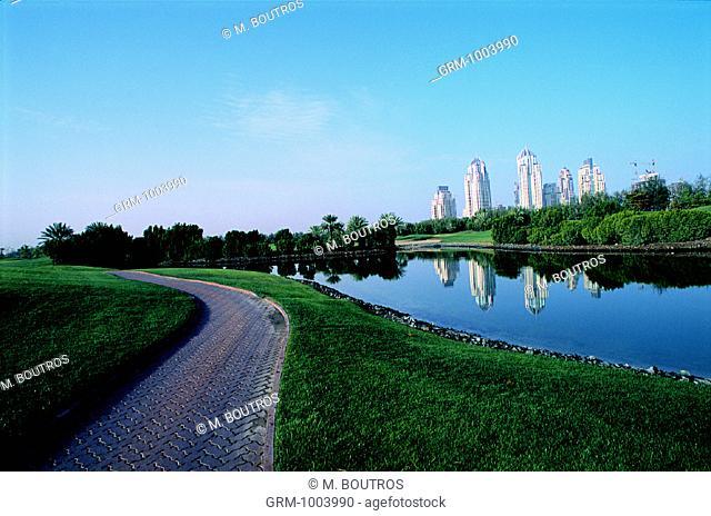 Emirates Golf Course and Dubai Marina (background), United Arab Emirates