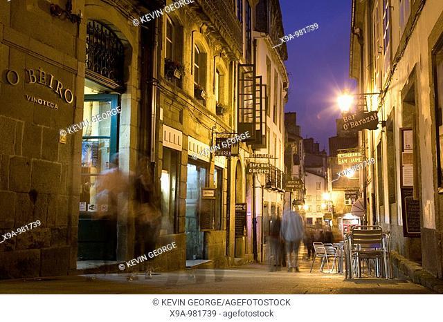 Bar and Cafe at Night, Santiago de Compostela, Galicia, Spain