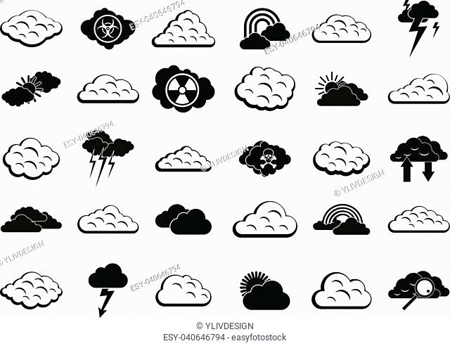 Cloud icon set. Simple set of cloud vector icons for web design isolated on white background