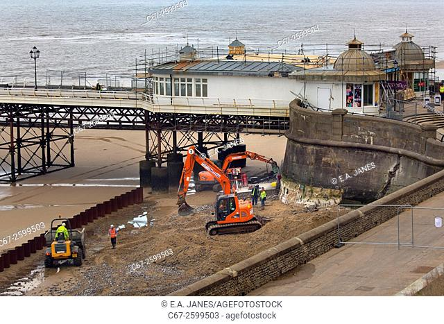 Repairs to Cromer sea wall after the tidal surge of Dec 2013 Norfolk