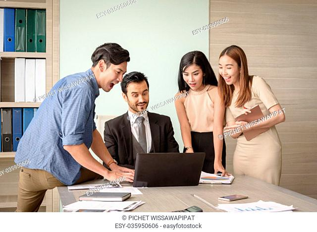 Business people happy and surprising in meeting office, successful teamwork concept