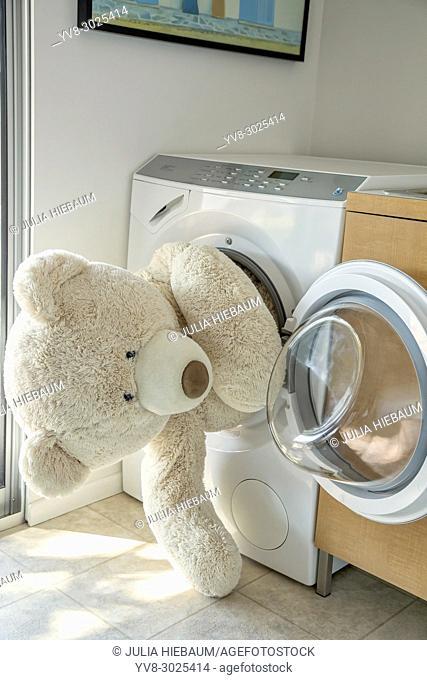 Giant stuffed bear stuck in the washing machine