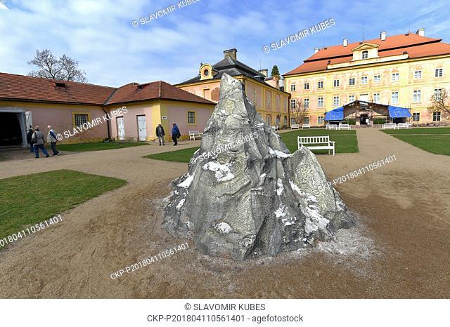 Czech artist Kristof Kintera exhibits Disappearing sculpture in Krasny Dvur Chateau, near Louny, Czech Republic, April 11, 2018