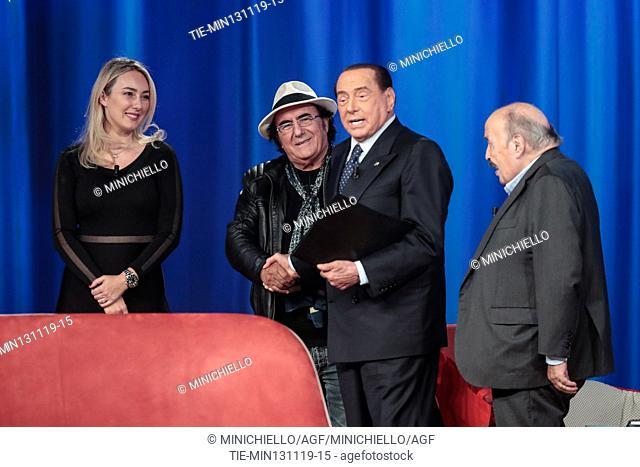 Cristel Carrisi, Singer Albano Carrisi and Former Italian premier Silvio Berlusconi during the recording of Canale 5 tv program 'Maurizio Costanzo Show'