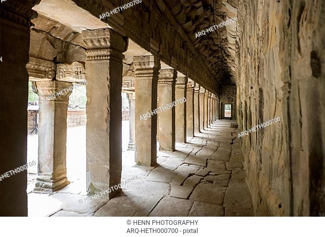 Hallway Inside A Temple At Ankor Wat