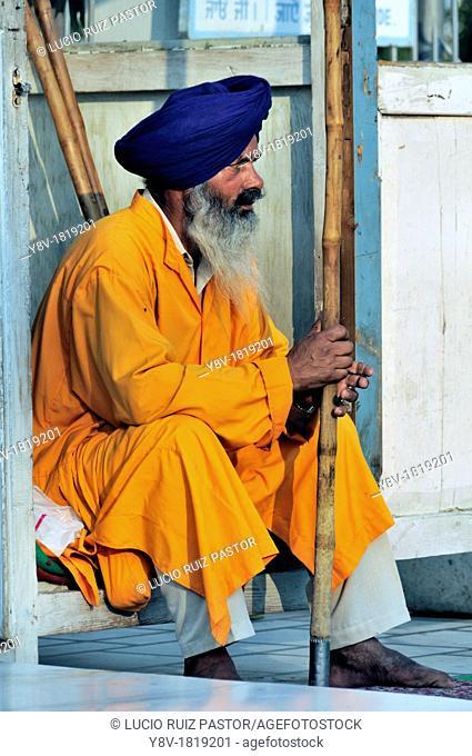 India. Punjab. Amritsar. The Golden Temple. Guard