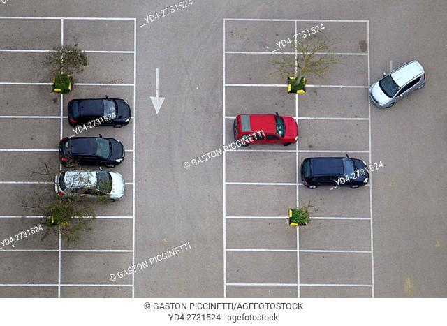 Aerial view of a parking, Balearic Islands, Spain