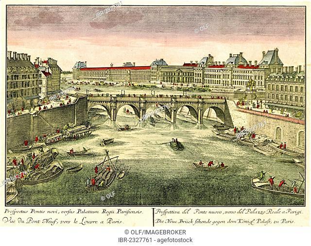 Historical view of Paris, circa 1740, Pont Neuf and the Louvre, Seine river, entitled: Prospectus Pontis novi, versus pontis Regii, Parisiensis