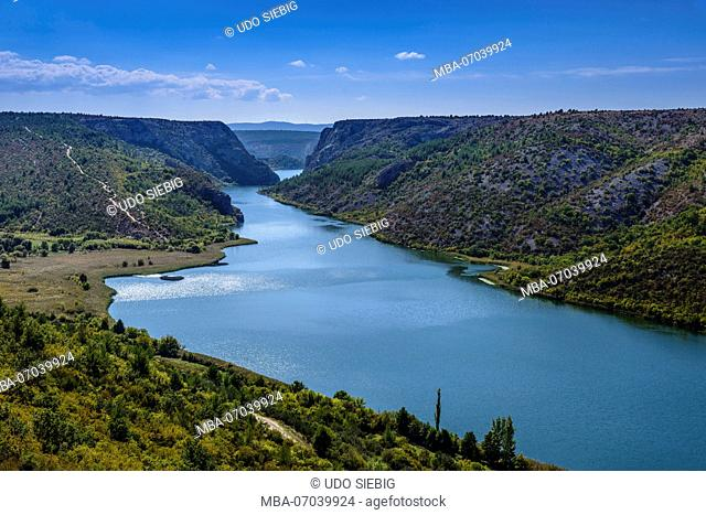 Croatia, Dalmatia, region of Sibenik, Krka National Park, Visovac lake at Roski Slap