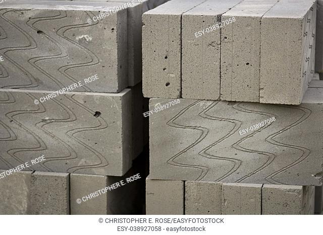 Stack of lightweight thermal building blocks semi abstract background