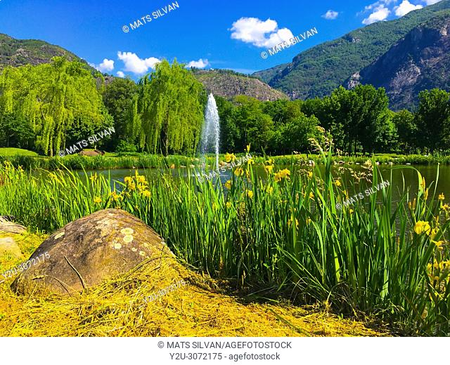 Golf Course Gerre Losone with Flowers and Lake with Fountain and Mountain in Losone, Ticino, Switzerland
