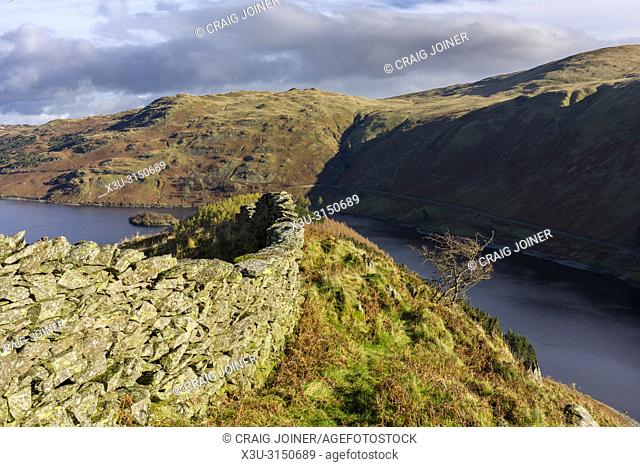 Dry stone wall on Dudderwick overlooking Haweswater Reservoir and Mardale Common in the Lake District National Park, Cumbria, England