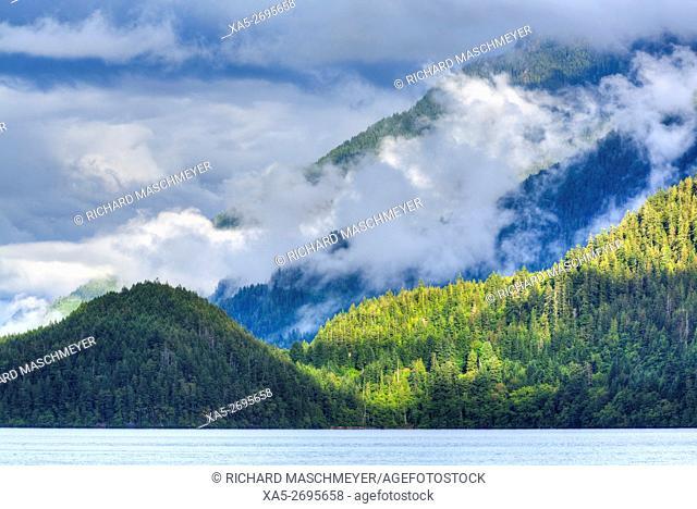 Cresent Lake and Aurora Ridge in background, Olympic National Park, UNESCO World Heritage Site, Washington State, USA