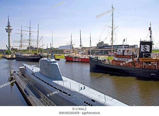 museum harbour with several historical ships, Germany, Freie Hansestadt Bremen, Bremerhaven