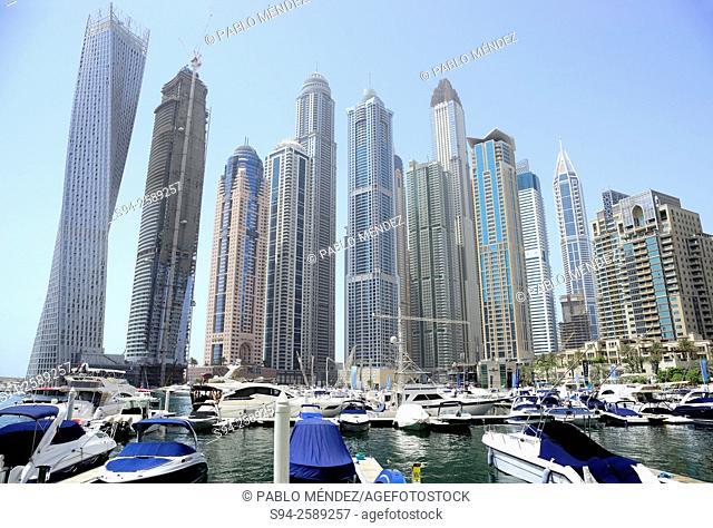 Dubai Marina skyscrapers in Dubai, United Arab Emirates
