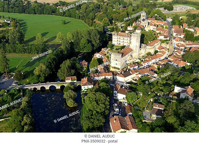 France, Dordogne, aerial view of the western part of Bourdeilles