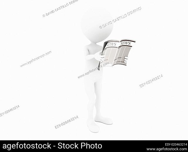 News. 3D little human character Reading a News Paper