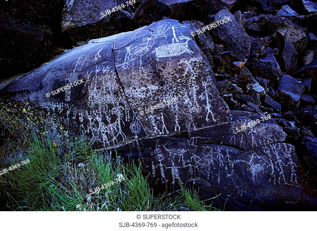 Site Iny-7 , Big Petroglyph Canyon, in the Coso Mountains of California is part of one of the most spectacular concentrations of rock art in North America