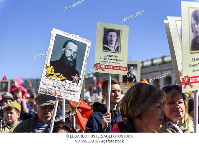 St. Petersburg, Russia, May 9, 2018. Immortal Regiment is an annual action devoted to the people who were fighting against fascist during World War II