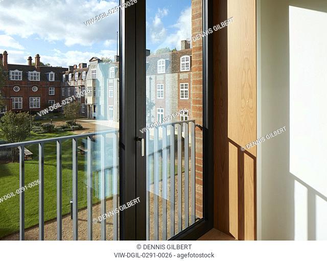 View towards courtyard garden. Newnham College, Cambridge, Cambridge, United Kingdom. Architect: Walters and Cohen Ltd, 2018