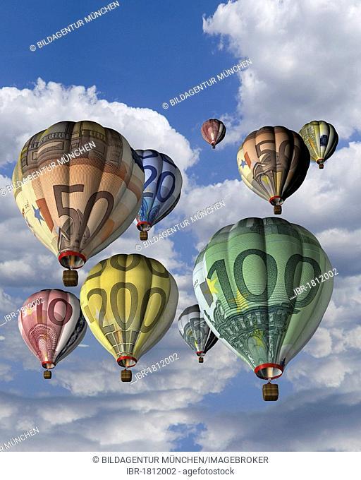 Hot air balloons made from euro banknotes, illustration