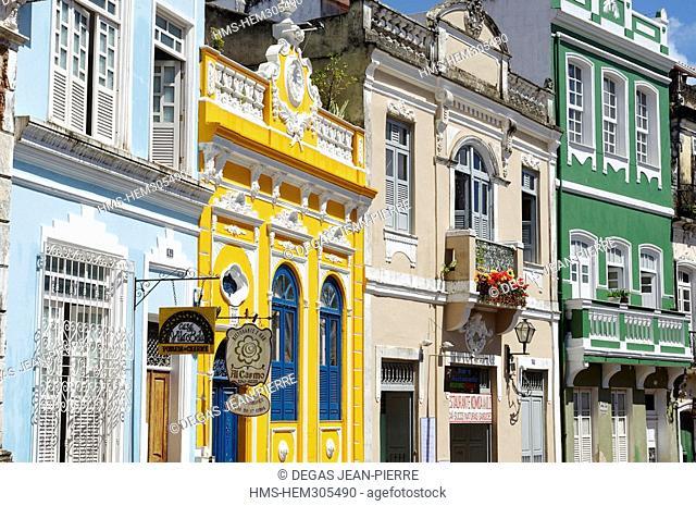 Brazil, Bahia State, Salvador de Bahia, historical center listed as World Heritage by UNESCO, Pelourinho District, colored houses with stucco decoration