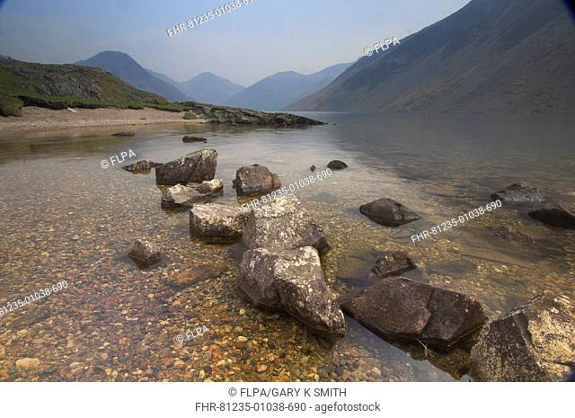 Moody view of Wastwater Lake, Lake District, Cumbria, England, may