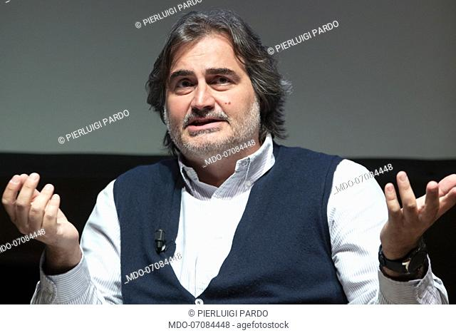 Italian journalist and TV conductor Pierluigi Pardo attends the theatrical event A day in Europe at the Teatro Franco Parenti