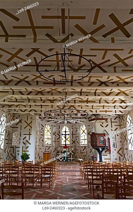 "Interior of historic timber framed church St. Mariae in Tripkau (1618/1864/1998), """"Amt Neuhaus"""", Lower Saxony, Germany, Europe."