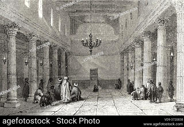 Interior of a church in Bethlehem, Palestine, Israel. Old 19th century engraved illustration Travel to Jerusalem by Alphonse de Lamartine from El Mundo en La...