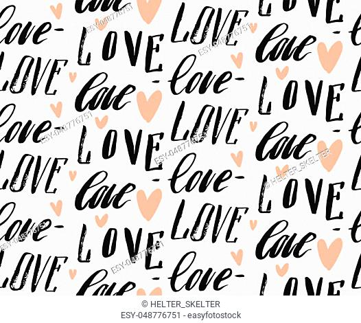 Hand made vector abstract calligraphy seamless pattern with differend handwritten love words and hearts isolated on white background
