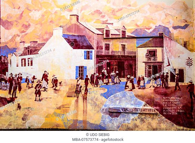 France, Brittany, Morbihan, Quiberon, mural, church square around 1896