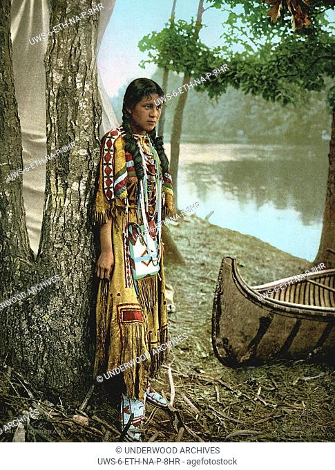 Minnesota: 1904.A photochrome of Minnehaha as she awaits the arrival of Hiawatha