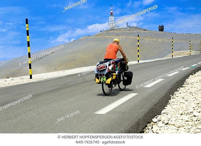 Cyclist; Mt.Ventoux; Racing Cycle; Road Cycling; Sport; Biking; Curve road at Mt.Ventoux; Winding Road; Provence; France