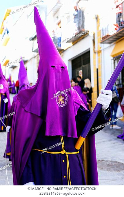Traditional Holy Week procession. Friday morning. Alcalá La Real. Jaén. Andalusia. Spain